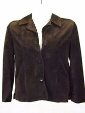 Oscar Leopold Women's Leather Jacket, Size M, Brown Coat Lined 3 Button