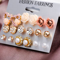 9Pairs/Set Women's Crystal Pearl Flower Ear Studs Earrings Elegant Jewelry GR.ch