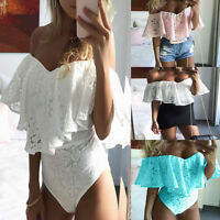 Womens Bardot Frill Off Shoulder Lace Bodysuit Stretch Party Casual Leotard Tops