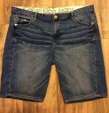 Calvin Klein One Womens Jeans Size 33/16 Slouchy Slim Medium Wash Knee Shorts