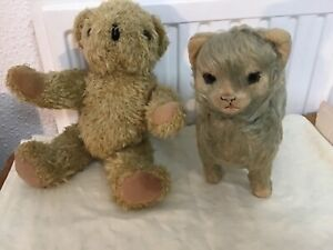 Vintage merrythought plush cat/dog? And vintage teddy friend