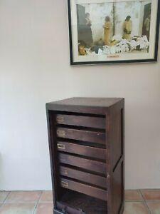 Antique oak tambour roll front filing cabinet.  C 1920 Original key working