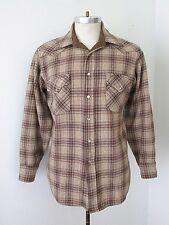 VGC Vtg 70s Brown Blue Plaid Wool Flannel Lumberjack Western Shirt Pearl Snaps L
