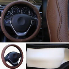 38CM Auto Car Steering Wheel Cover Protector Embossed Brown PU Leather Non-slip