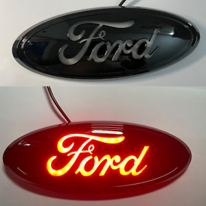 """For FORD F150 F250 9"""" LED Black Red Light Front Grille Tailgate Badge Nameplate"""