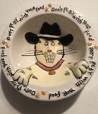 OUT OF NOWARE Hand Painted Cat Bowl 1995 DON'T PLAY WITH YOUR FOOD  NWOT