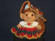 """3""""  ROOTIE W/COPPER ROOTED HAIR, ORG. PAINTED EYES & CHRISTMAS DRESS WOW!  u488"""