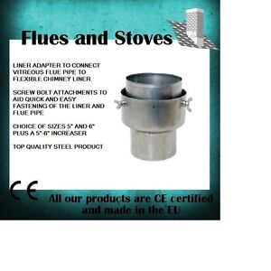 Vitreous Flue Pipe To Flexible Flue Liner WITH BOLTS adaptor multifuel Stoves