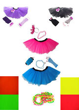 NEON TUTU SKIRT 80s FANCY DRESS Hen Party Fun Run HEADBAND SET NECKLACE Beads