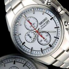 Nuevo Reloj Seiko Cronómetro Solar Deportivo Para Hombre-Caja y pulsera de plata titanio