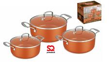 3pc conjunto de Aeris Antiadherente Cazuela olla cerámica revestido de utensilios de cocina Cacerola de cobre
