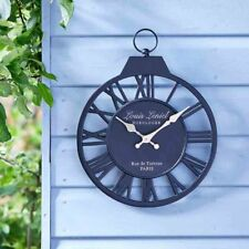 Vintage Garden Wall Clock Outdoor Indoor Thermometer Decor Roman Numerals