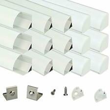 Muzata Aluminum Channel For Led Strip Light w/ Milky White Curved Diffuser Cover