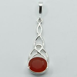 Genuine and Natural CARNELIAN / CORNELIAN Celtic Pendant 925 STERLING SILVER #1