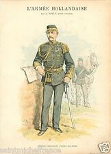 INDIA ARMY GÉNÉRAL COMMANDANT 1887 NETHERLANDS PAYS BAS UNIFORM ANTIQUE PRINT