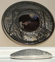 3D Dome Moon Surface Silver Coin Landing Apollo Craters Astronaut Rocket Sci Fi