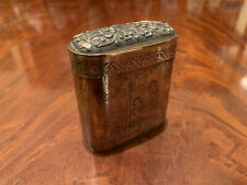 A RARE CHINESE ANTIQUE SILVER, BRASS SNUFF BOX WITH POEM.