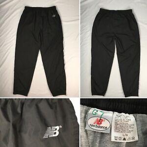 NEW BALANCE lined windbreaker track pants MENS L drawstring black ankle zip