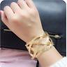 Vintage Women Gold Hollow Crystal Weaved Punk Cuff Wide Bracelet Bangle Jewelry