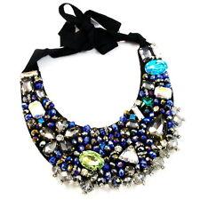 COLLAR NECKLACE handmade WOMEN BLACK BLUE NAVY SILVER rhinestone crystals choker