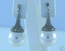 Marcasite Sterling Silver Round Ball Pearl Drop Dangle Earrings NEW