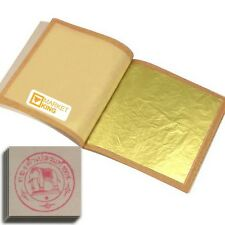 "X-LARGE 100 pcs 24 Karat Edible Gold Leaf for Cooking Food Art Work Gilding1.6"""
