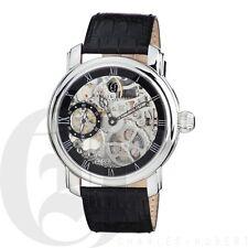 Charles-Hubert Mens Mechanical Watch Black Leather Skeleton Dial 3875