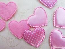 60 mix Heart Felt Fabric Applique/Satin Polka Dot/bow/valentine/sewing H82-PINK