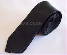 Skinny Black Mens Mans Slim Plain High Quality Satin Neck Tie Necktie New UK
