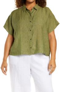 NWT $148 EILEEN FISHER 1X Delave Dyed Organic Linen S/S Cross Dye Shirt Coriande