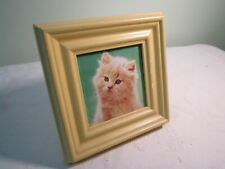 Long Hair Tabby Cat Kitten Photo Picture Print Framed - Green Background