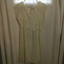 Motherhood Maternity Dress Cream With Lace Detail And Tie Waist Size Medium