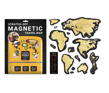 BIG GOLD SCRATCH OFF TRAVEL MAP MAGNETIC WORLD MAP PUSH PIN POSTER SCRATCH CARD