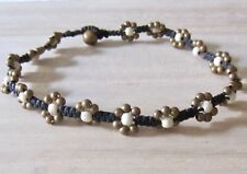 ANKLET STONE BRASS BEADS BLACK CORD BELL INDIA GYPSY boho beach hippy surf women