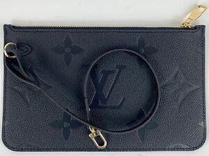 LOUIS VUITTON Neverfull MM Monogram M45685 Black Leather Purse Bag Pouch Clutch