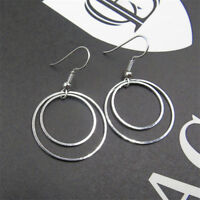 Women Ladies Fashion Double Circle Ring Jewelry Round Hoop Loop Dangle Earrings