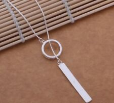 925 Sterling Silver Long Necklace Classic Simple Round Pendant Jewellery Gift