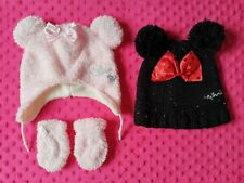 Disney Minnie Mouse Baby Girl Winter Hats And Mittens Set 12-24 months
