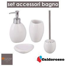 SET ACCESSORI BAGNO CALDOROSSO KIT 4 PEZZI IN CERAMICA BIANCO OUTLET