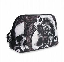 Liquor Brand Doomed cosmetics bag skulls and black roses gothic punk zip closure