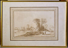 Baroque Landscape Basire after GUERCINO Old Italian Master antique Etching 1764