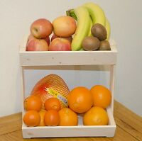 Vegetable rack storage fruit kitchen tier stand wood wooden container
