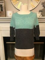 J. CREW Cashmere ~ Teal Gray Color Block ~ 3/4 Sleeve Popover Sweater S