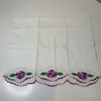 Vintage pillowcase white embroidered edging purple floral print standard size