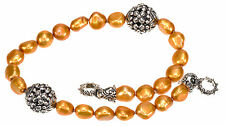 """Barbara Bixby Cultured Golden Pearl Sterling Silver 9"""" Long Add On Necklace"""