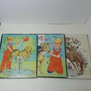 """Vintage Children's Puzzle Lot 1961 Dennis the Menace & Playskool Cowboy 8"""" x 10"""""""