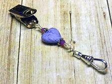 Purple Heart Portuguese Knitting Pin- Clip on ID Badge Pin