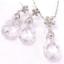 fashion1uk künstlicher Diamant Weißgold vergoldet Hochzeit Ohrring Halskette Set