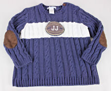 Janie and Jack Football Season JJ Blue White Sweater Brown Patches Boy Size 2T