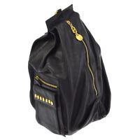 Authentic GIANNI VERSACE Medusa Shoulder Bag Black Leather Vintage Italy 906139